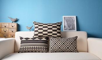 Sofa Rectangle Decorative Geometric Design Black And White