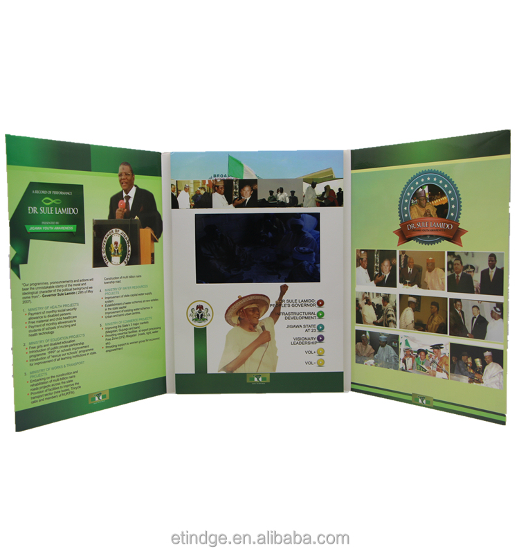 Etg Tri-folder 7 Inch Digital Lcd Tft Video Screen Greeting Brochure