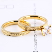 Stainless Steel Gold Plated Wedding Ring Set - Buy Wedding ...