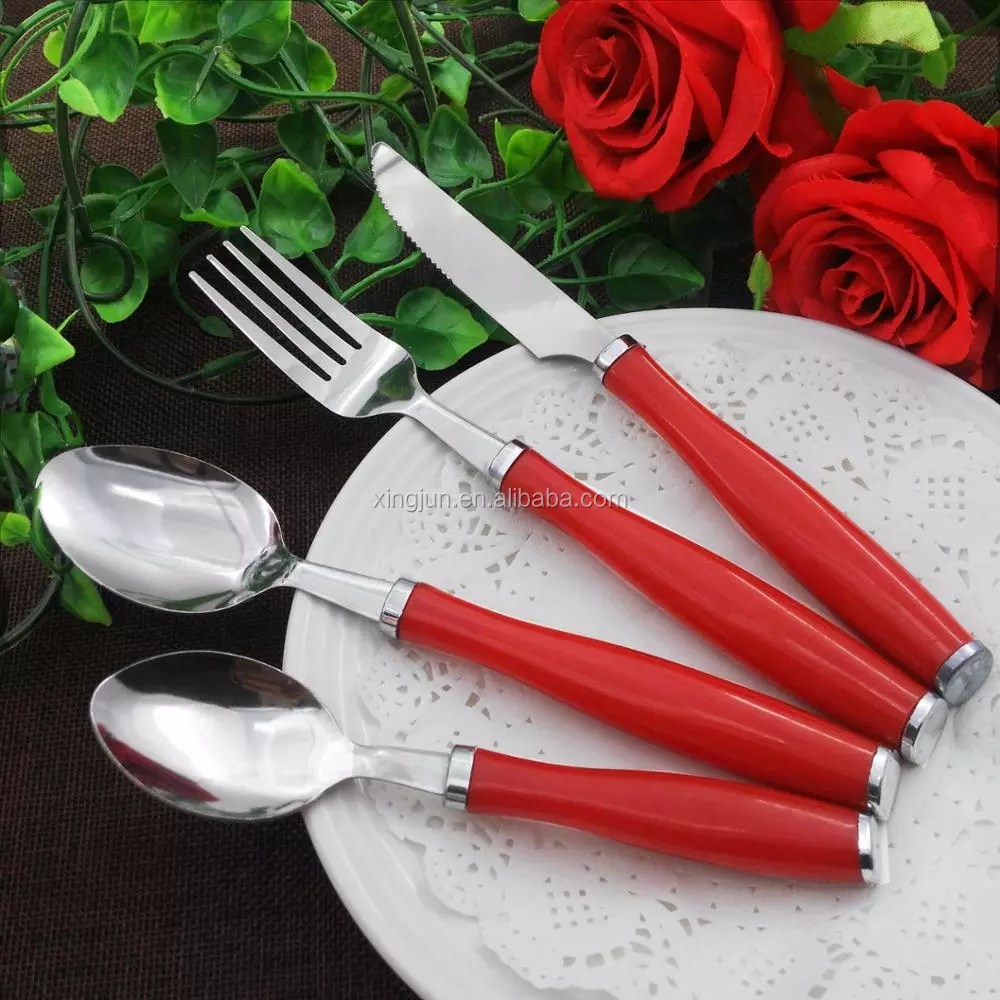 Red Handle Flatware Royalty Line Cutlery Set Stainless Steel China Flatware With Red Plastic Handle Buy Royalty Line Cutlery Set With Plastic Handle Stainless Steel