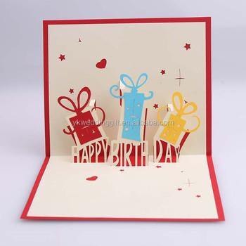 3d Pop Up Card Kids Handmade Happy Birthday Greeting Card - Buy