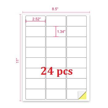 Free Sample A4 Size 24up Laser Inkjet Printable Address Shipping