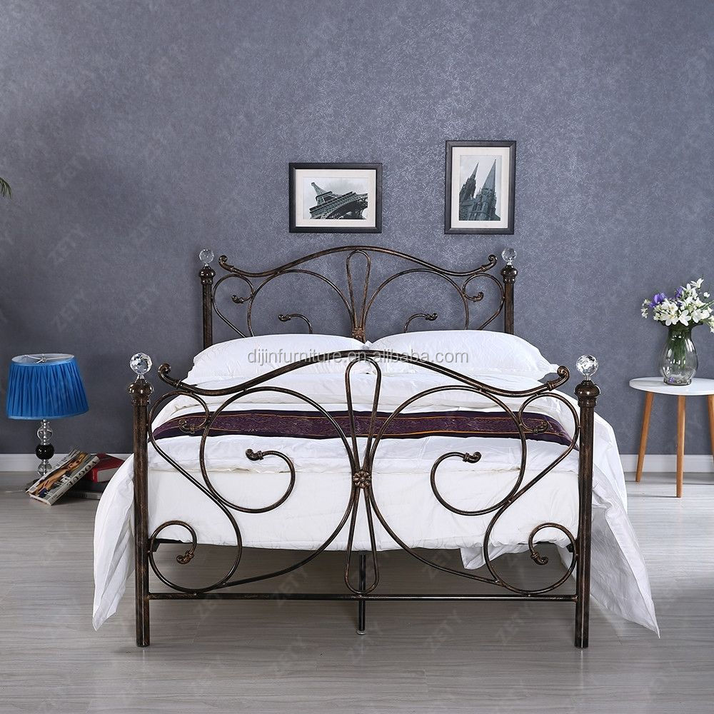 4ft6 Bed Frame 4ft 4ft6 Double 5ft King Metal Bed Frame With Crystal Finials Buy Metal Bed Frame Cheap Metal Bed Frame Metal Tube Bed Frame Product On Alibaba