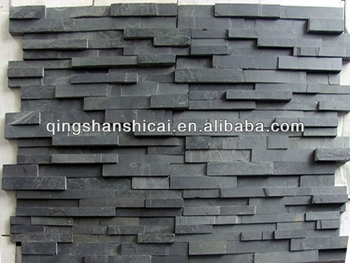 3d Wallpaper Or Wall Panel Or Wall Panels Stacked Stone 3d Black Slate Split Face Mosaic Wall Cladding Ledger Tile