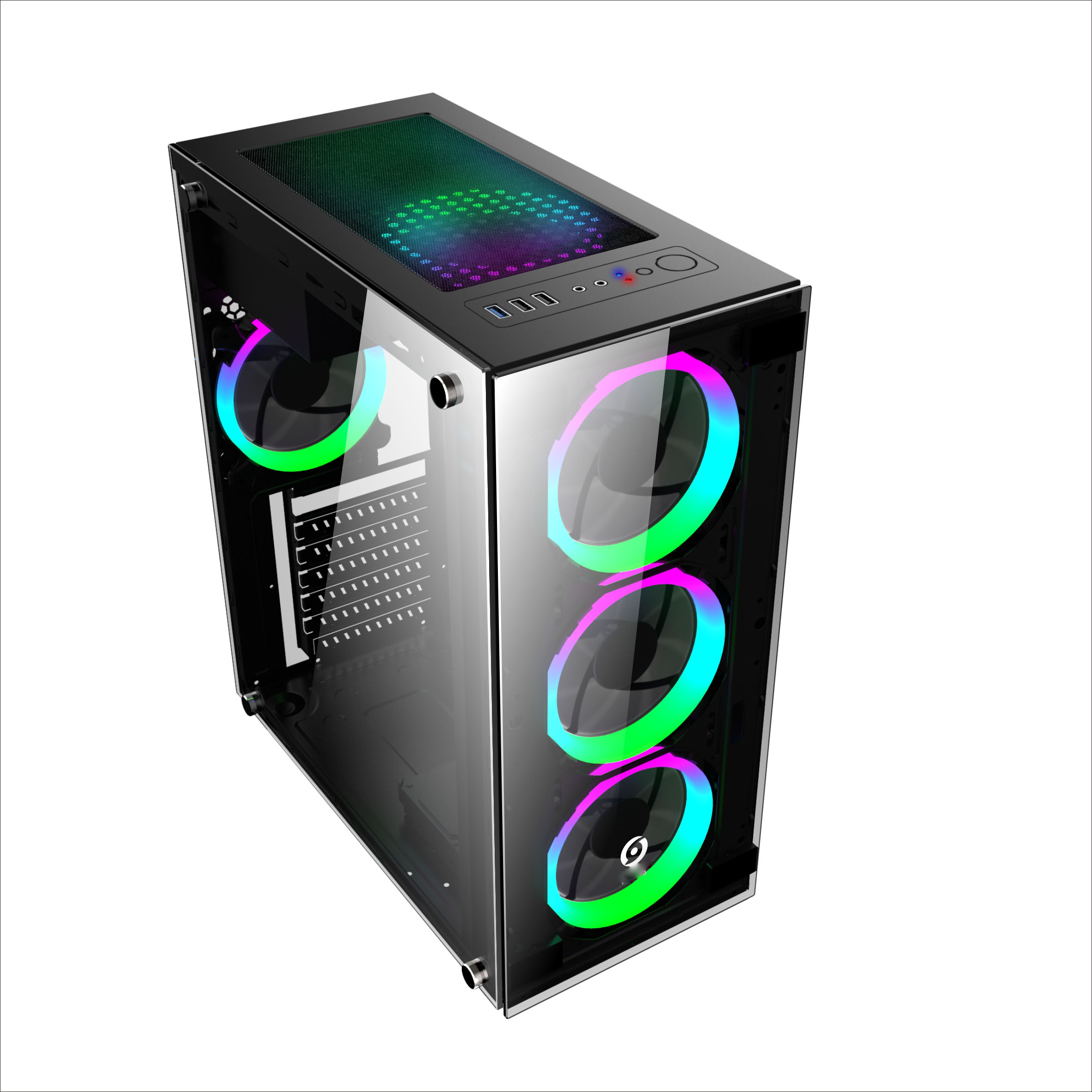 Case Pc Middle Tower Atx Computer Gaming Case With Tempered Glass Front Panel Rgb Fan Buy Pc Gaming Case Computer Tower Case With Handle Computer Gaming