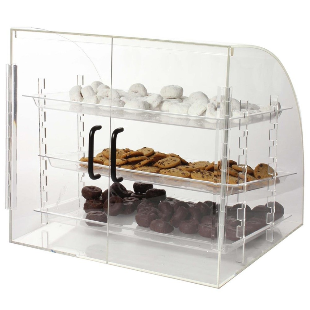 Countertop Food Display Case Countertop Acrylic Bakery Display Case Pastry Donut Display Case With Hinged Doors And 3 Removable Trays Buy Countertop Acrylic Bakery Display Case