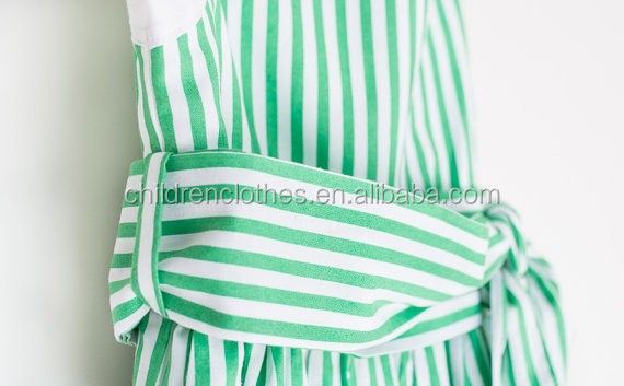 Children Frocks Designs 2018 Green Stripes Clothing Baby Dress