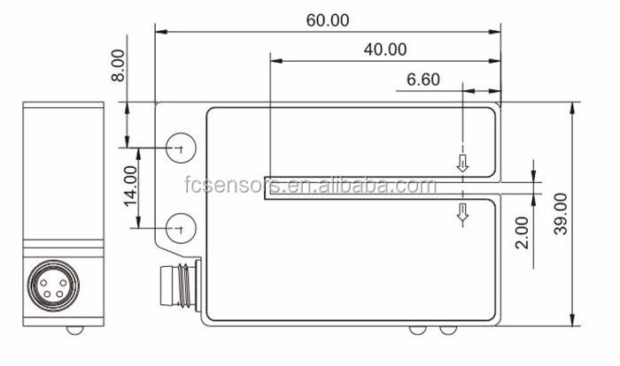 Transparent Plastic Label Detection Npn/pnp 4 Wires Optical Label