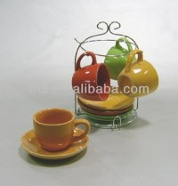 4sets Colorful Ceramic Espresso Cups Set With Stand - Buy ...