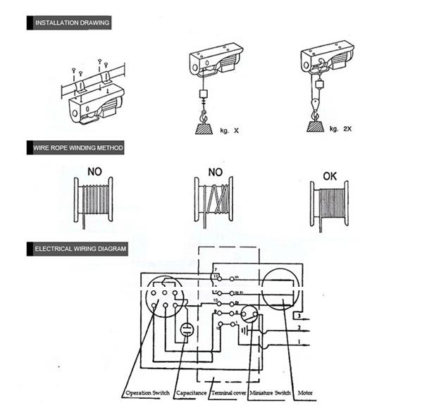electric hoist 110v wiring diagram