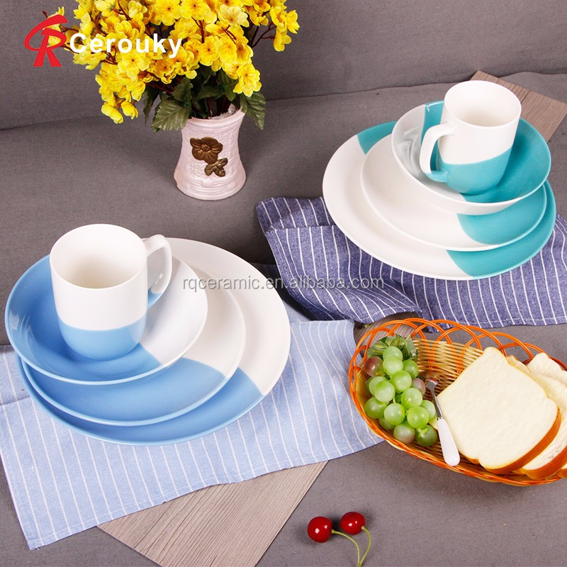 Hot Sale Unique White And Blue Used Restaurant Ceramic