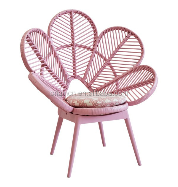 Rattan Sofa Chair Set Pink And Green Cute School Furniture Flower Shaped Pe