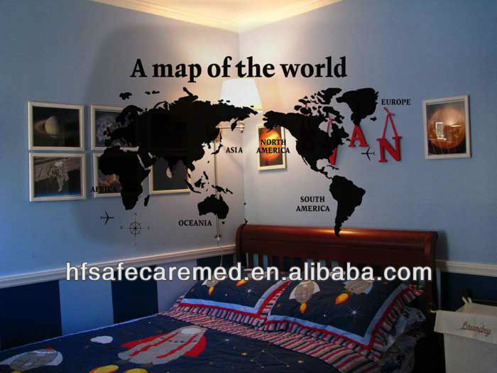 Fashion Large Decal Office Blackboard World Map Wall Sticker - Buy