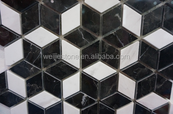 Diamond Shaped Black And White Marble Flower Mosaic Floor