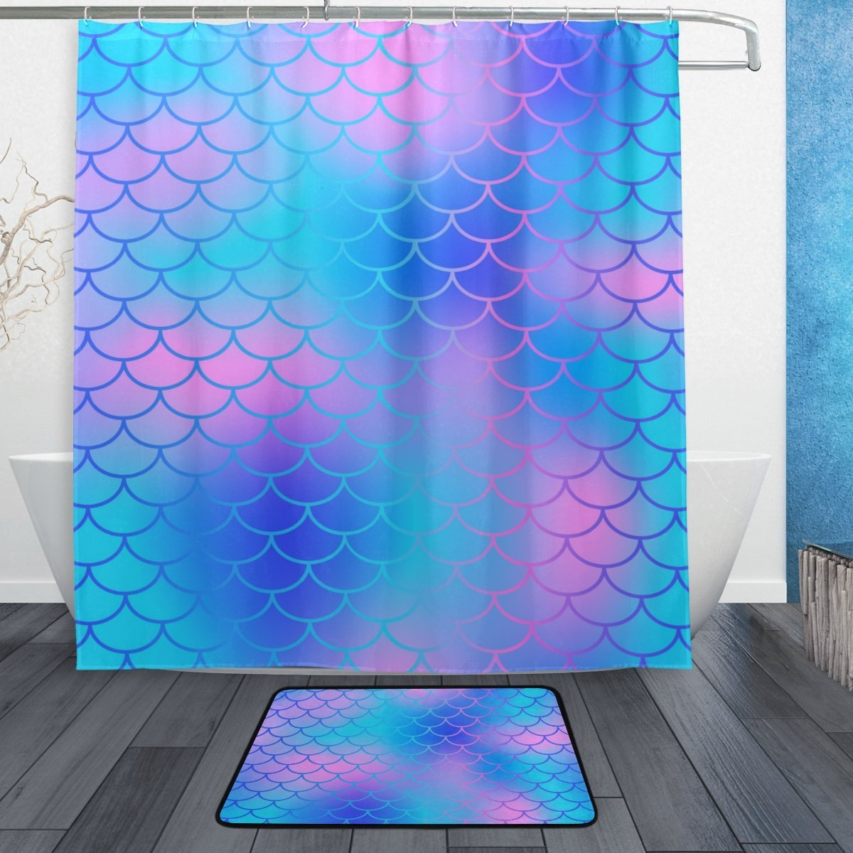 Mermaid Scale Shower Curtain My Little Nest Colorful Magic Mermaid Fish Scale Pattern Shower Curtain Set Bathroom Decor Waterproof Polyester Shower Curtain With Hooks And Foam