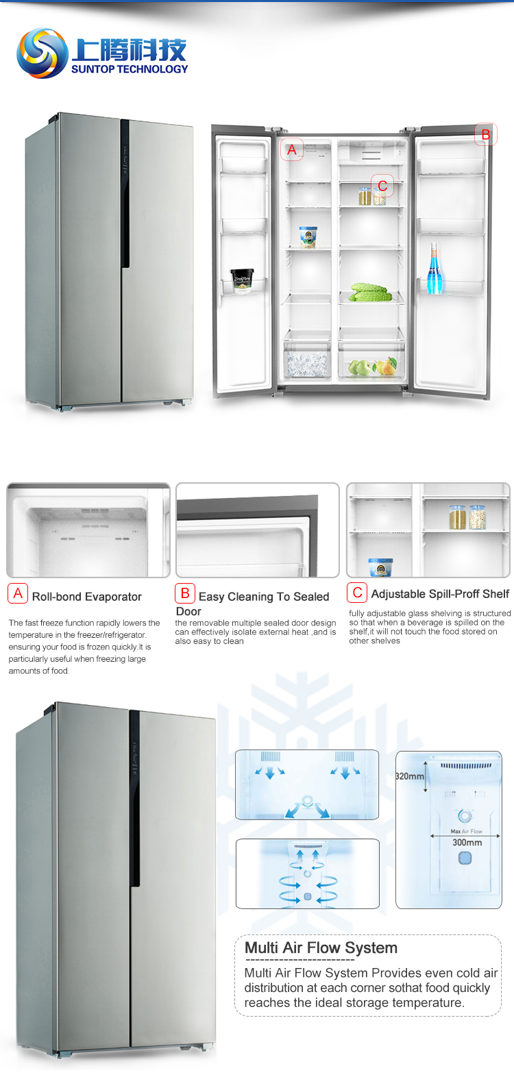 No Frost Multifunction New 327l No Frost Fast Freeze Double Door Upright Freezer Fridge Commercial Refrigerator Buy Commercial Refrigerator Fridge