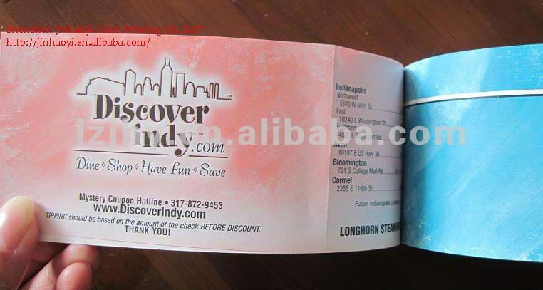 With Perforation Custom Paper Printing Coupon Book, View Perforation