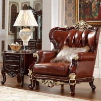 Luxury Antique Royal Style Gold Carved Wood Leather Living
