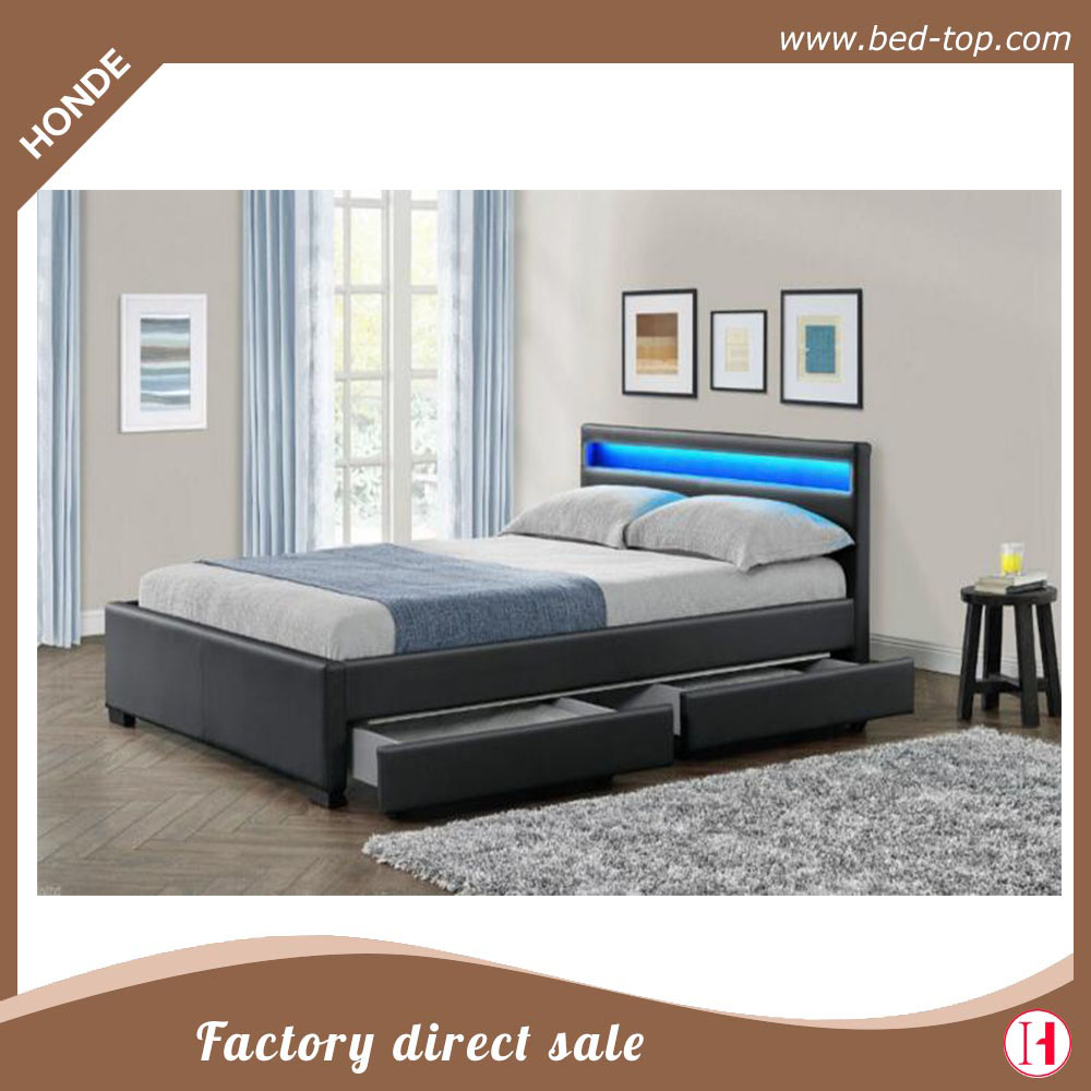 Leather Bed Latest Double Bed Design Led Leather Bed With Storage Wood Box Buy Leather Beds With Drawers Simple Design Double Box Bed Faux Leather Storage
