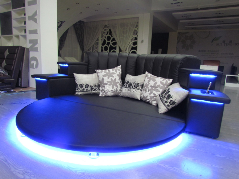 Cy006 Hot Sale Latest Design Modern Round Led Music Bed - Moderne Betten Mit Led