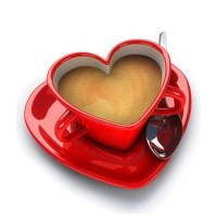 Red Heart Shaped Ceramic Coffee Cup And Saucer Set - Buy ...