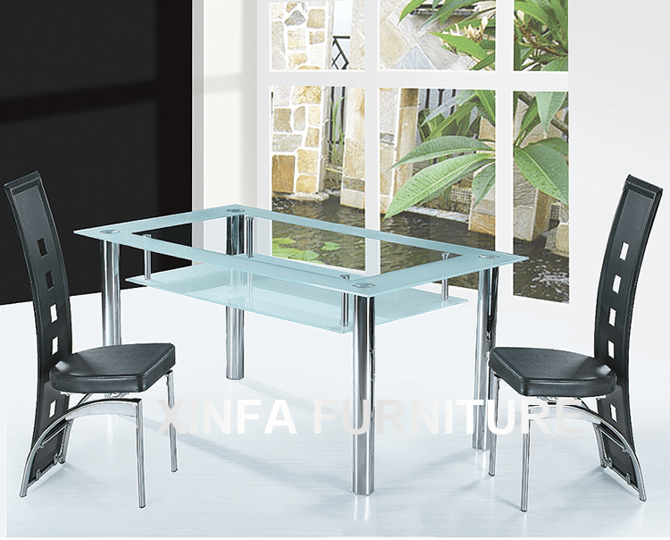 Cheap Two Layers Tempered Glass Top Chrome Legs Dining
