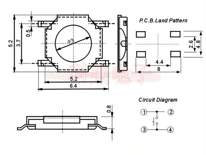 low profile 4 pin smd tact switch 52mm, View low profile 4 pin smd