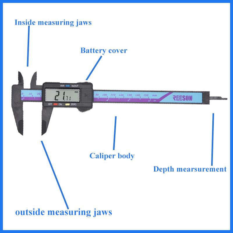 Digital Caliper 6 Inch Plastic Electronic Vernier Caliper Measuring
