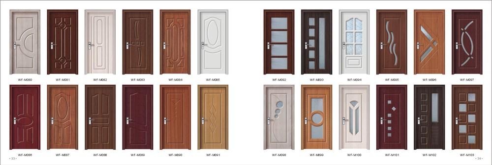 Teak Wood Door Design Pvc Coating Surface Finished