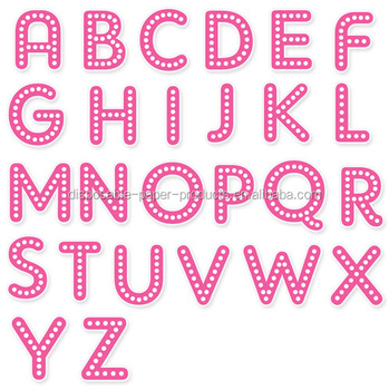 A Happy Birthday Letter Shapes Pink Polka Dots Party Flag Banner