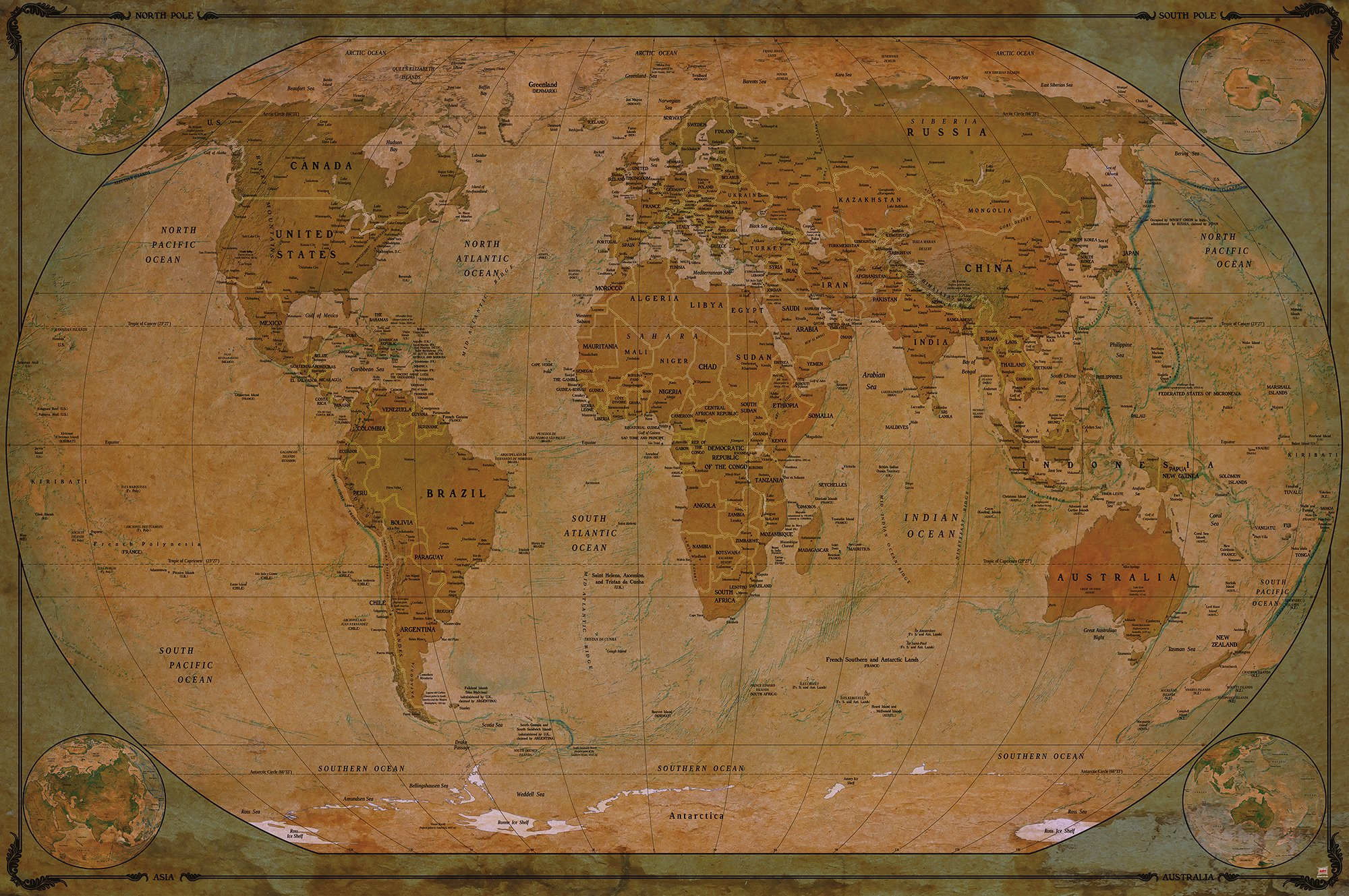Atlas Decoration Buy Poster Used Look Wall Picture Decoration Globe Continents