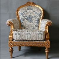 Vintage Wood Grandfather Chair,Luxury Old World Style