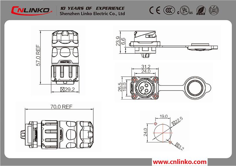 12v Dc Power Supply Connector Waterproof 5 Pin Circular Power