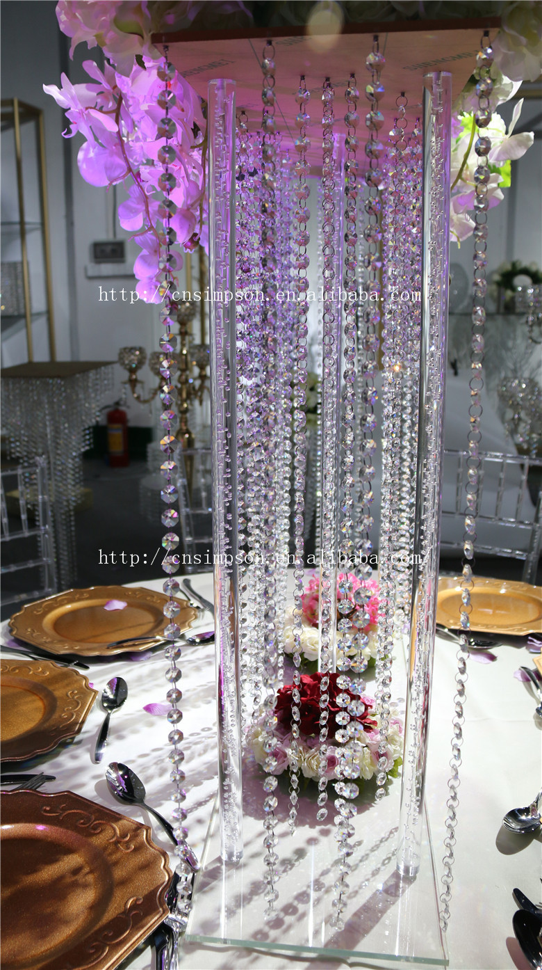 Wholesale Company Aliexpress Tall Square Acrylic Centerpiece Crystal Wedding Flower