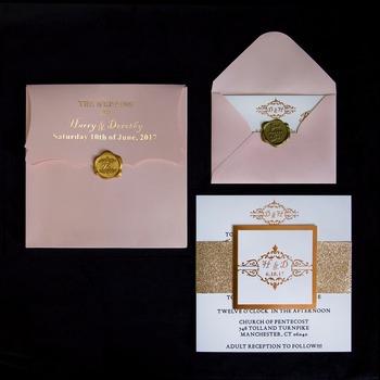 Simple Design Elegant Rose Gold Stamping Simple Wedding Invitation