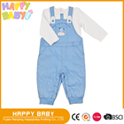 Two Pcs Baby boy Clothing Set Cotton interlock knitted T-shits and woven poplin overalls with jersery lining
