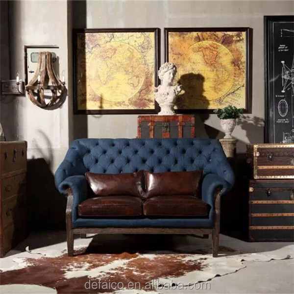 Sofa With High Back Chair Blue Denim Vintage Industrial Style Oak Wood Frame Sofa