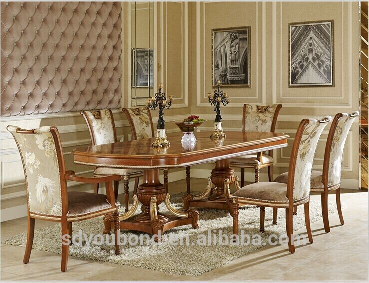 0062 Italian Royal Classic Dining Room Sets,Wooden Dining