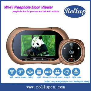 CE&RoHS approval wifi motion detection recording front door peephole camera for iphone 4