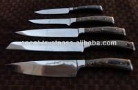 Custom Carbon Steel Kitchen Knife Set/ Wooden Handle Ui ...