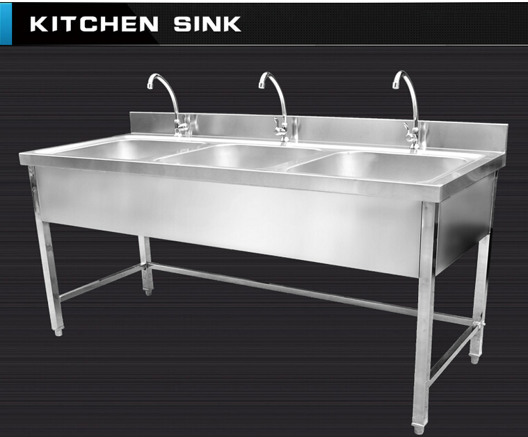 Used Stainless Steel Commercial Sinks Triple Bowls