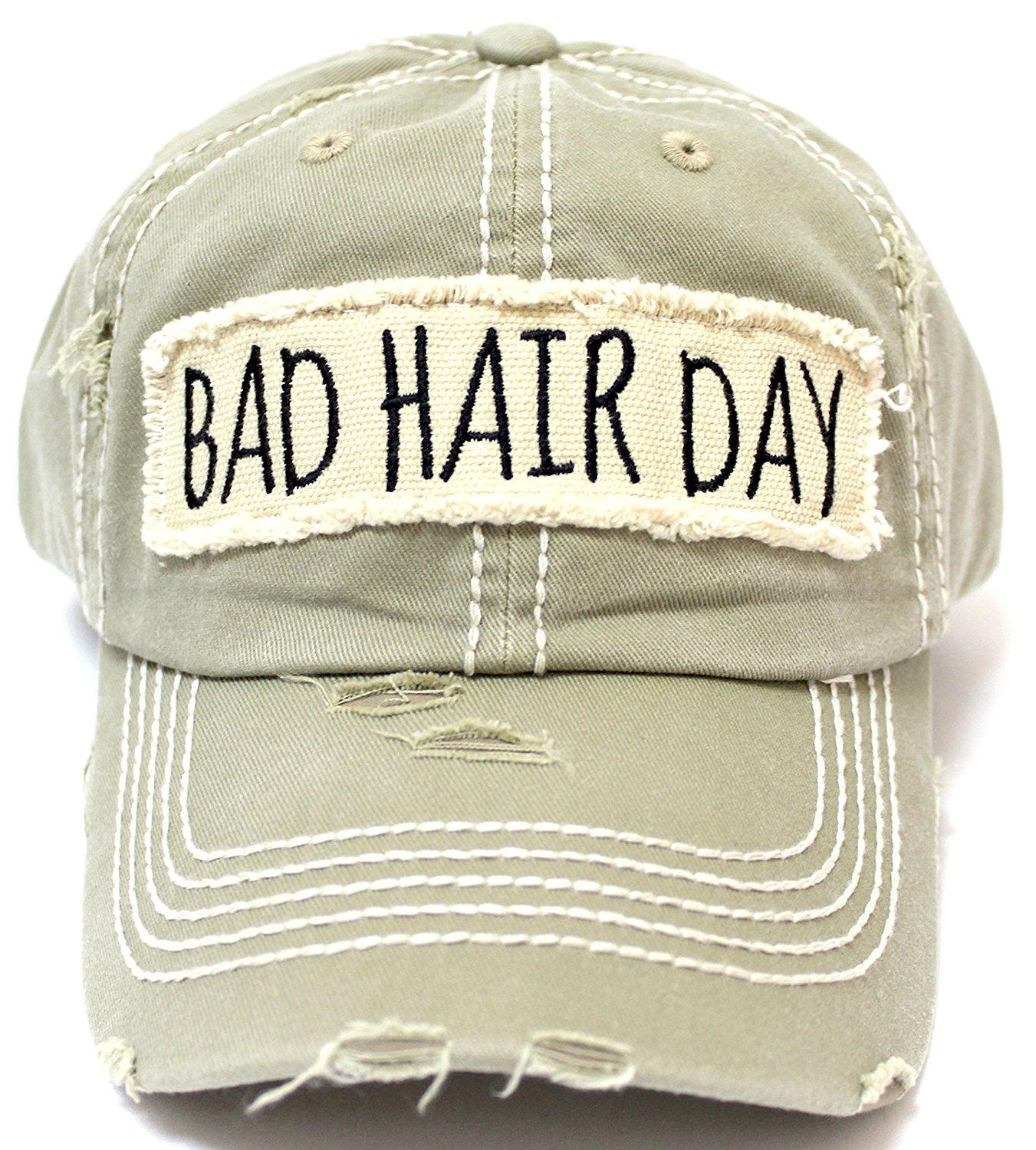 Vintage Bad Buy Caps N Vintage New Khaki Bad Hair Day Embroidery Patch