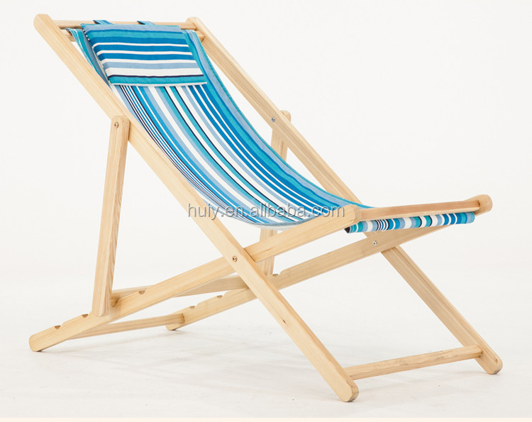 Adjustable Wooden Folding Beach Chair With Canvas Cloth