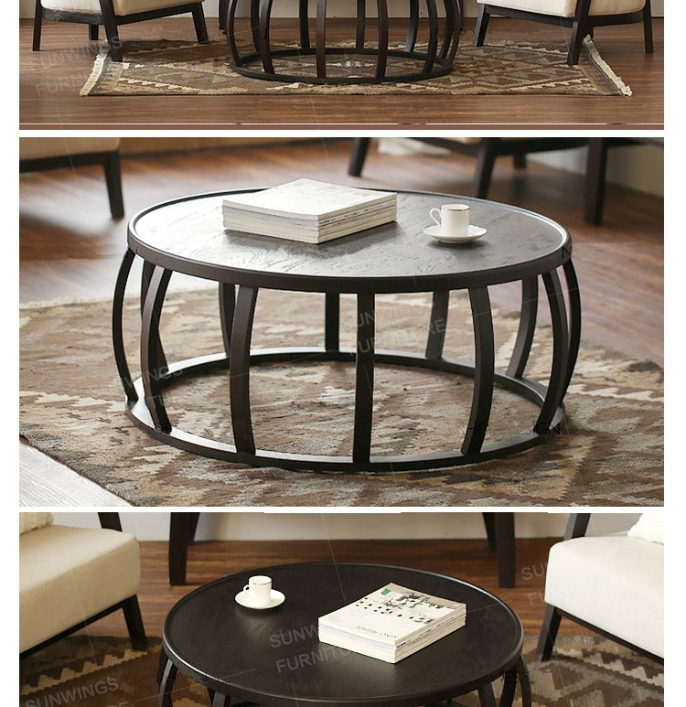 Elegant Drawing Room Round Shaped Wooden Coffee Table