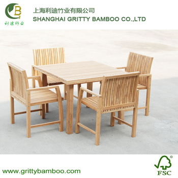 Outdoor Square Bamboo Garden Furniture Set For Chair And
