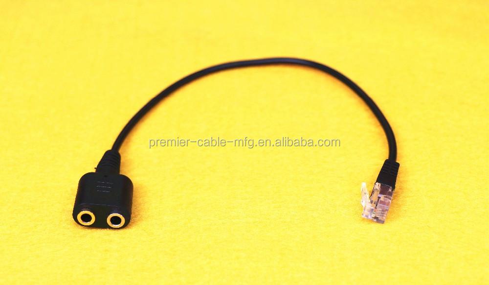 Rj9 Plug To 2 X 35mm Jack For Pc Headset To Avaya 1600 - Buy Plug