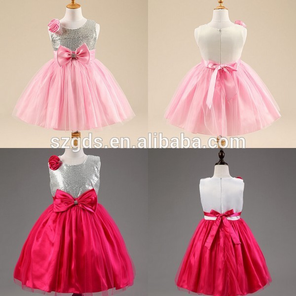 Shinny Red/ Pink Baby Girl Party Dress Children Frocks Designs Baby