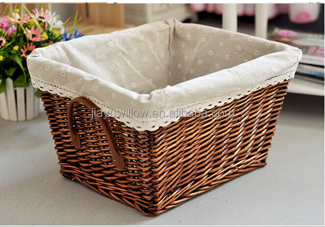 Wholesale Simple Fabric Lined White Wicker Storage Basket