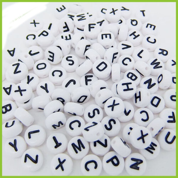 Mini White Bead With Black Letter Different Styles Alphabet Letters