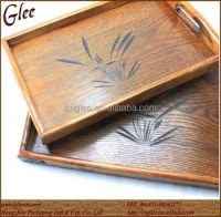 Wooden Square Dinner Plate For Restaurant With Decorative